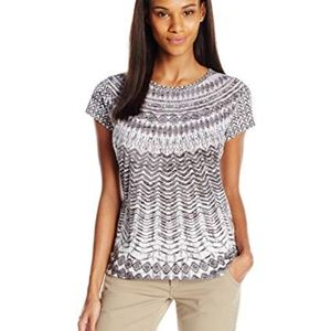 Prana Sol Tee Green Tribal Print Small